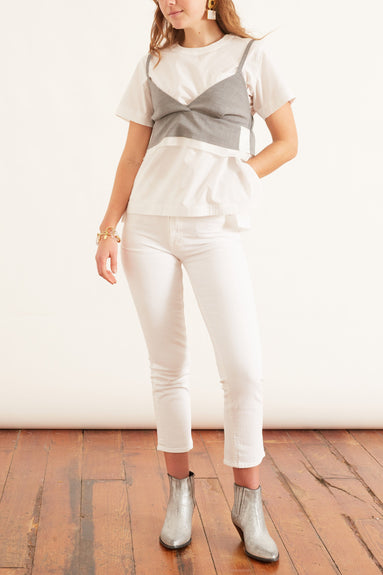 Suiting Pullover in Light Gray/White