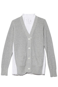 Cotton Knit Cardigan in Light Grey/White