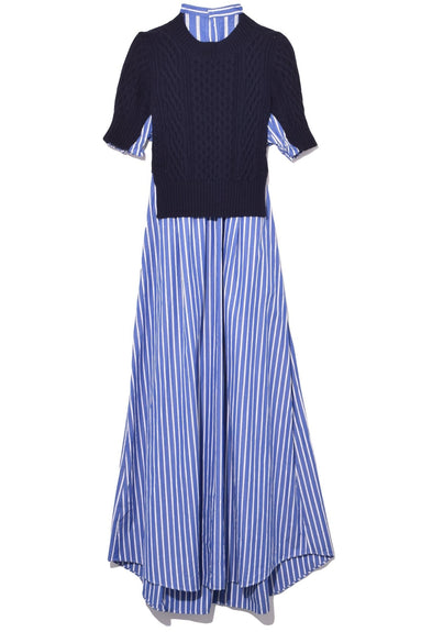 Cotton Poplin Dress in Navy/Stripe