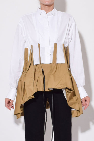 Cotton Poplin Shirt in White/Beige