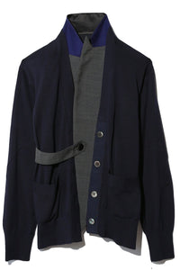 Knit x Suiting Jacket in Navy/Grey