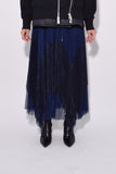 Lace x Shirting Skirt in Navy