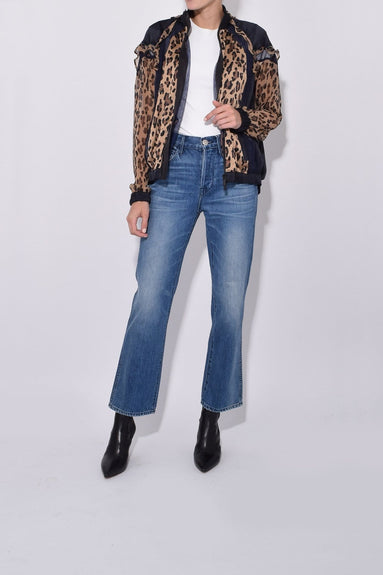 Leopard Satin/Chiffon Shirt in Beige