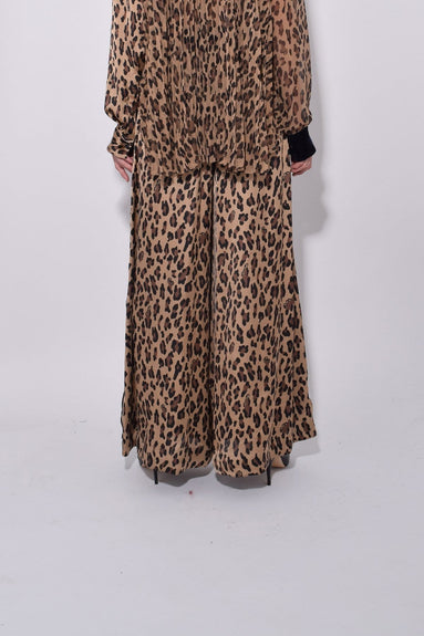 Leopard Satin Pants in Beige