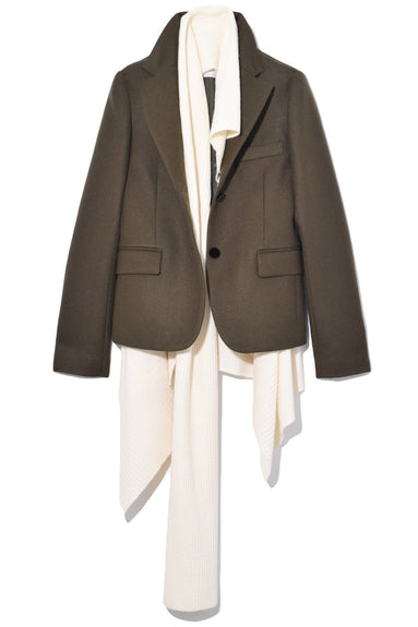 Melton x Knit Coat in Khaki/Off White