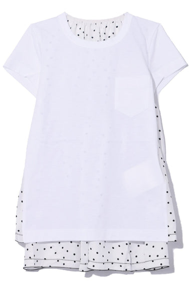 Polka Dot Top in White/White
