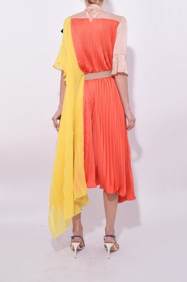Satin Pleated Dress in Orange/Yellow