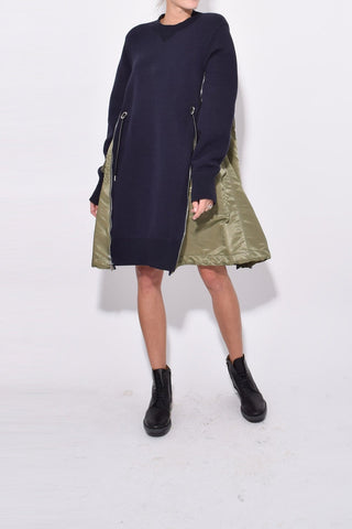 Spongy Sweat Dress in Navy