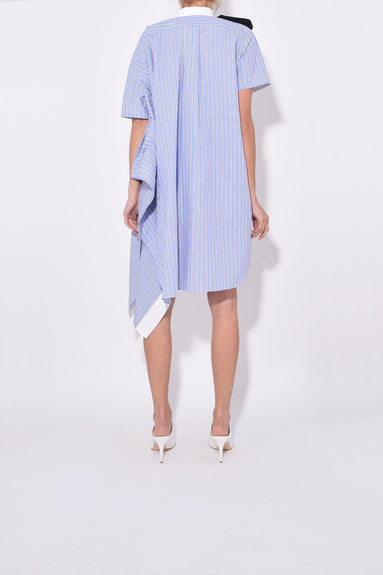 Stripe Shirting One Side Flare Dress in Blue