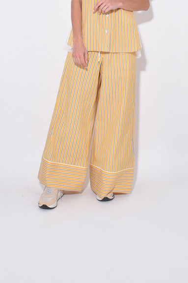 Stripe Shirting Pajama Pants in Yellow
