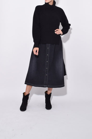 Wool Knit x Denim Dress in Black/Black