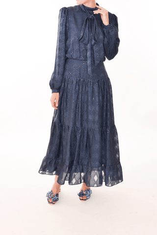 Isabel Dress in Navy/Black Metallic