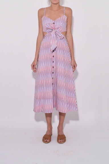 Lea Cutout B Dress in Optic Stripe