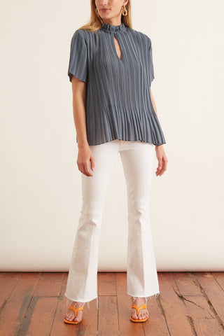 Lady Short Sleeve Blouse in Blue Mirage