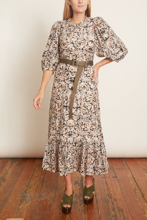 Borealis Puffy Sleeve Dress in Espresso