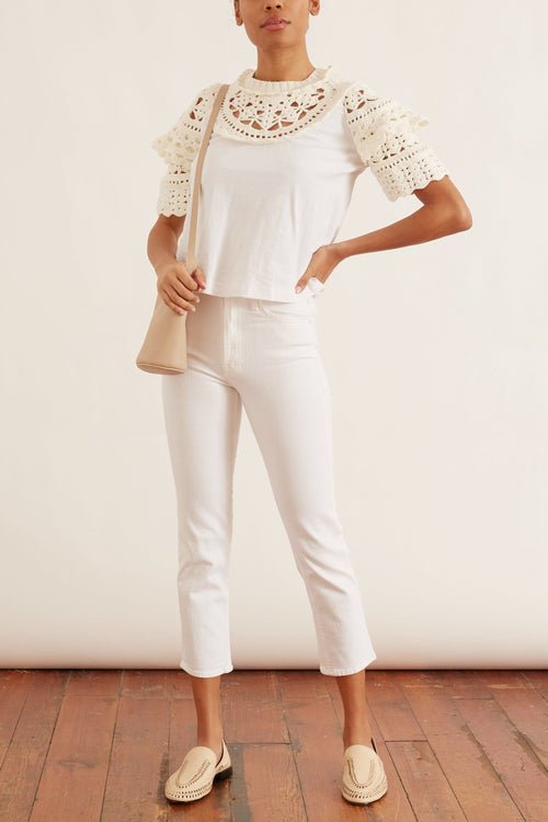 Cleo Crochet Puff Sleeve Combo T-Shirt in White