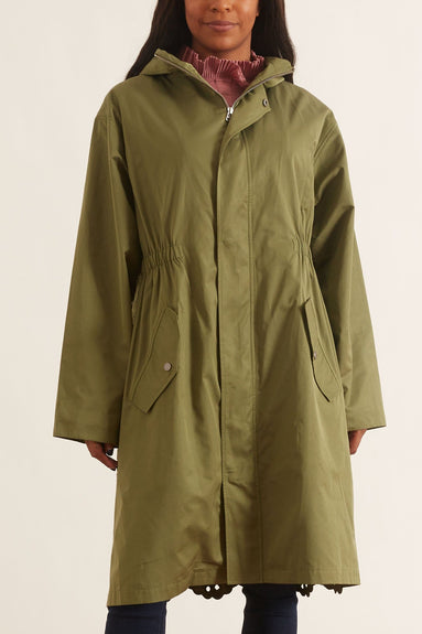 Elodie Eyelet Windbreaker in Army Green