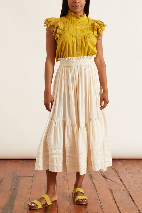 Everleigh Eyelet Skirt in Cream