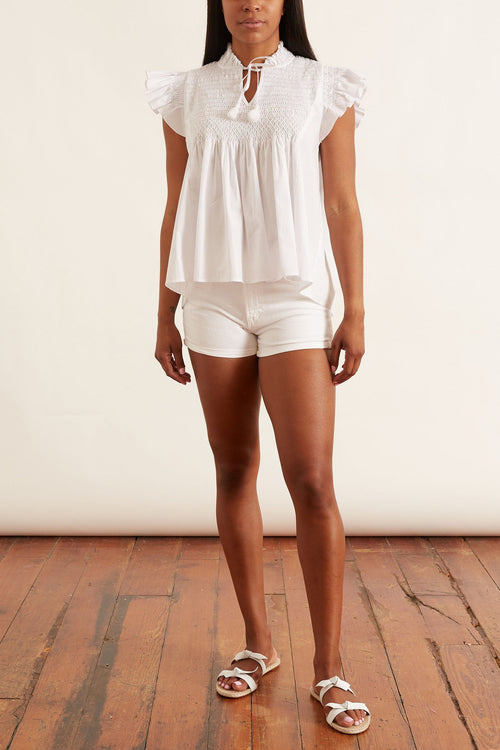 Gladys Hand Smocking Short Sleeve Top in White