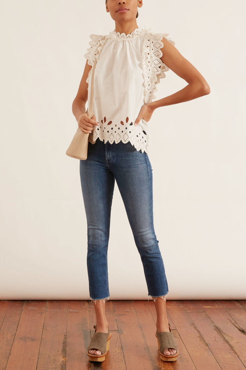 Hazel Eyelet Flutter Sleeve Top in White