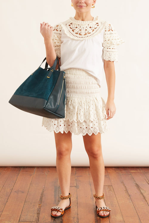 Hazel Eyelet Skirt in White