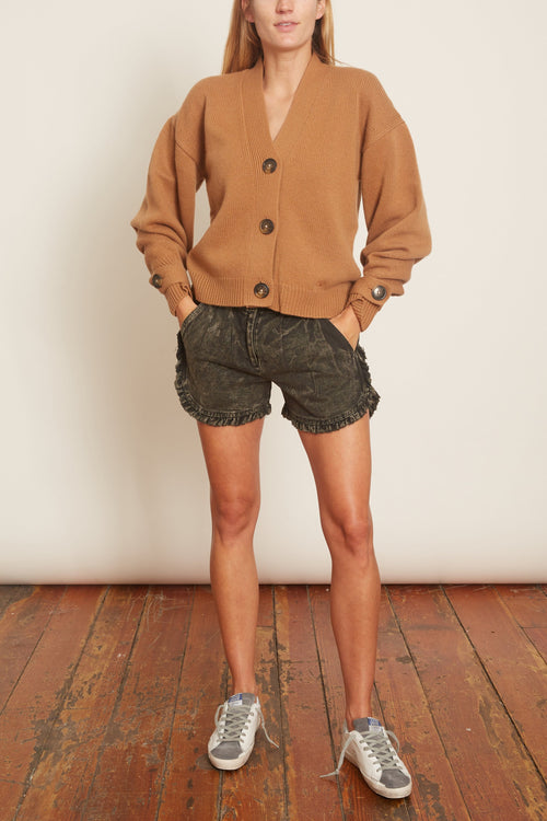 Idun Denim Ruffle Shorts in Graphite