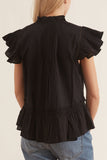 Ingrid Flutter Blouse in Black