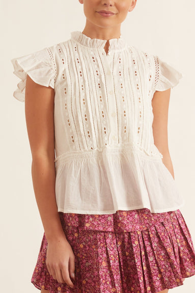 Ingrid Flutter Blouse in White