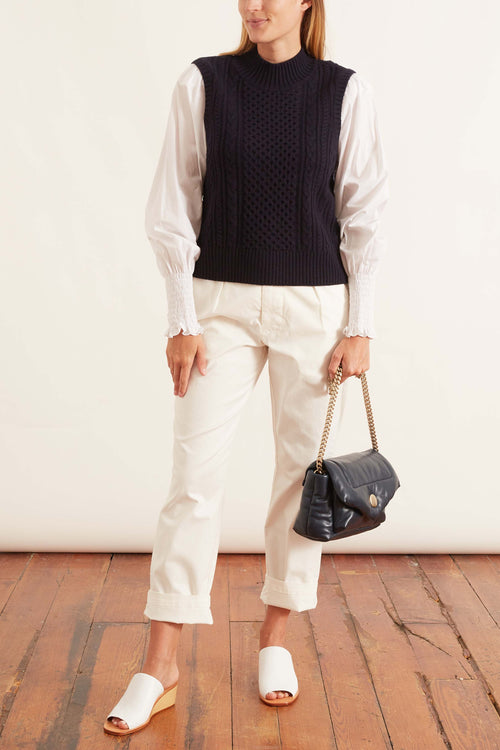 Melanie Cable Stitch Turtleneck Combo Top in Navy
