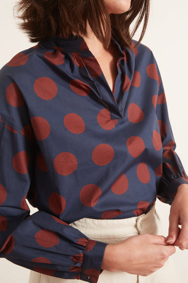 Penny Polka Dot Blouse in Navy