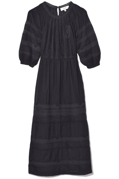 Aster Pintuck Day Dress in Black