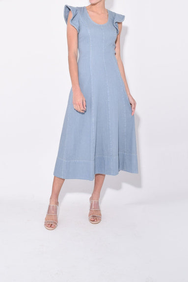 Dakota Flutter Midi Dress in Blue