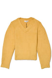 Fae Fleece V-Neck Sweater in Yellow