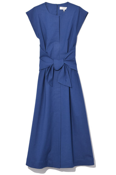 Lennox Belted Modern Midi Dress in Blue