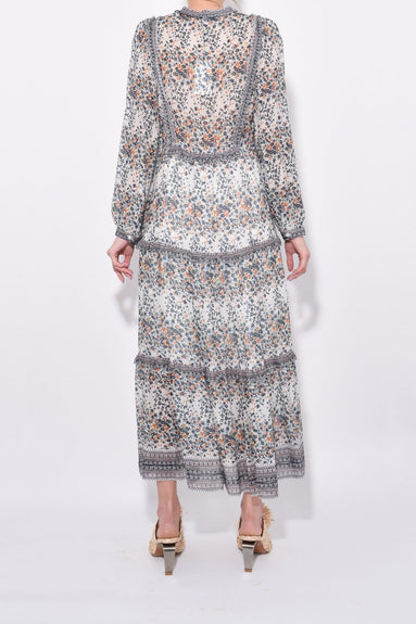 Maya Long Sleeve Dress in Cream Multi