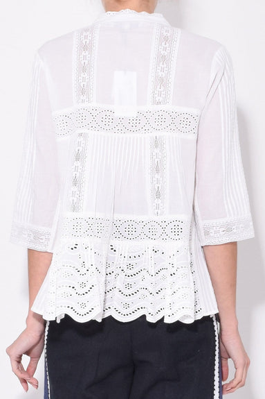 Naomie 3/4 Sleeve Blouse in White