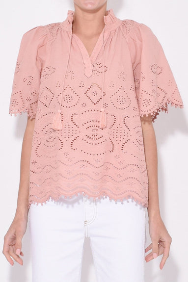Naomie Short Sleeve Top in Blush