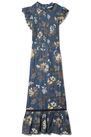 Pascale Midi Dress in Blue
