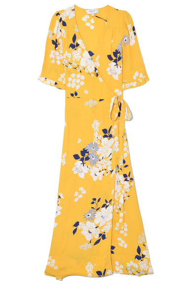 Pia Floral Midi Dress in Yellow Multi