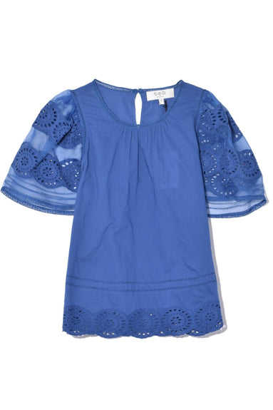 Zinnia Short Sleeve Top in Blue