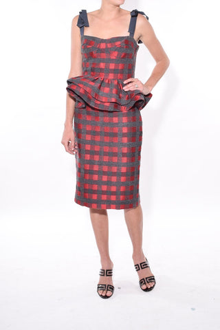 Delaney Skirt in Red/Grey Check
