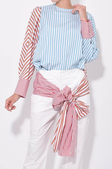 Adela Blouse in Red/Blue Stripes