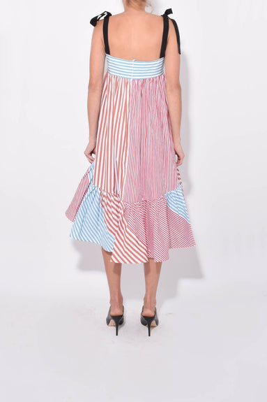 Calantha Dress in Red/Blue Stripes