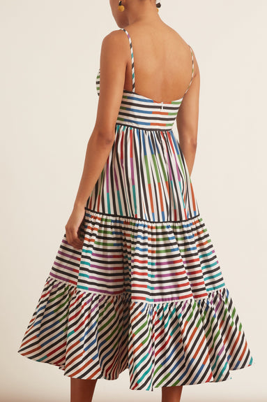 Catalina Del Mar Dress with Belt in Sangria Stripes