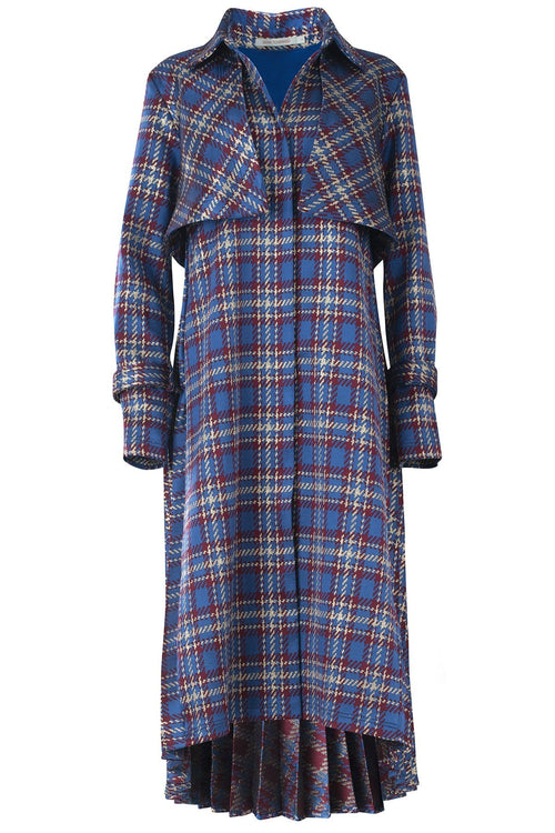 Donina Trench in Midnight Blue Plaid
