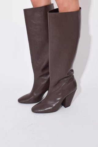 High Slant Boot in Chocolate