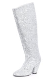 High Slant Boot in Silver Glitter
