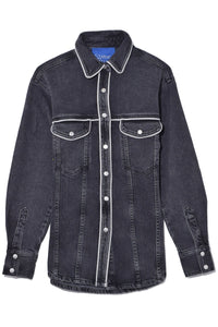 Pipo Top in Mid Black Wash with Piping