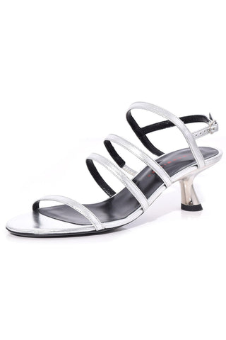 Strappy Tee Low Heel in Silver