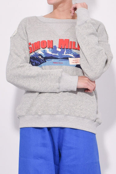 West Sweatshirt in Grey with Mountain Print